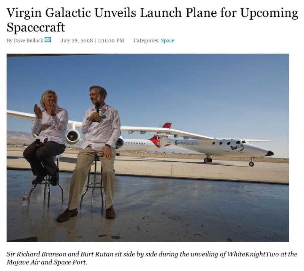 Virgin Galactic Unveils WhiteKnightTwo